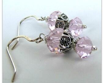 Boucles d'oreilles de cristal rose, cristaux rose perlé boucles d'oreilles, boucles d'oreilles de Saint Valentin, pendants d'oreilles, argent Sterling.925 oreille fils article #1139