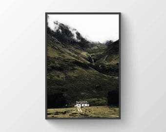 Farm House - Digital Print - Printable Art - Nature - Landscape - Photography - Rustic - Modern - Minimalist - Mountains - Foggy - Scotland