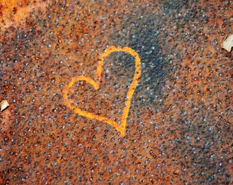 Heart Graffiti, orange, blue, rust, gold, love, photograph