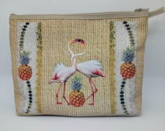 Trousse imprimée motif flamand et ananas
