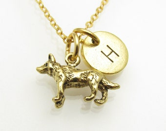 Wolf Necklace, Wolf Charm with Monogram Initial, Personalized Stamped Initial, Werewolf Charm, Antique Gold, Animal Charms, Mythical Z187