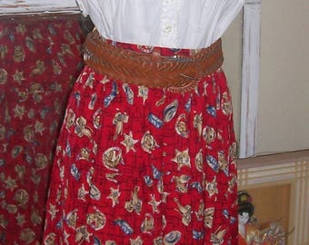 "Cowboy Cowgirl Vintage Southwest Print Red Skirt 25"" to 36"" Waist"