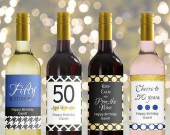 Editable Wine Bottle Labels for 50th Birthday printable, Black gold Blue navy Custom wine Labels, Personalized Mini Wine bottle, 3 sizes