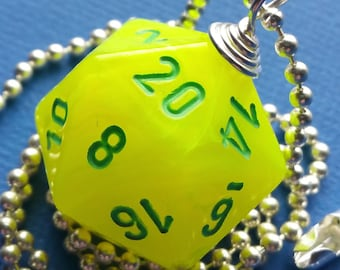 NEW STYLE - Dungeons & Dragons - D20 Die Necklace - Vortex Electric Yellow/Green