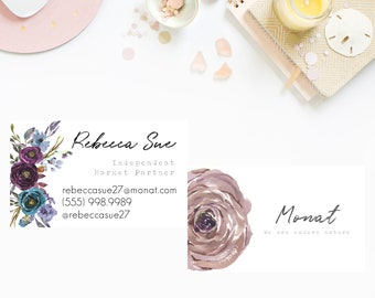 Purple Floral MONAT business cards, monat customized business card, marketing