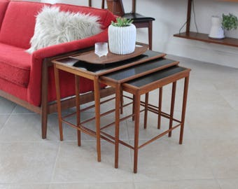 Rare Grete Jalk Teak And Laminate Topped Nesting Table Set For Poul  Jeppesen Mid Century Danish
