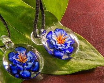 Glass Flower Pendant - Blown Glass Dahlia - Realistic Flower Jewelry - Blown Glass Heady Necklace - Lampwork Glass Blown Flower