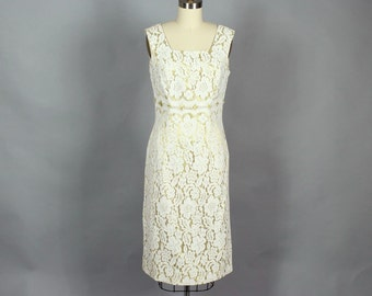 1960s cream & gold lace wiggle dress with matching bolero jacket . satin lined floral lace cocktail dress by Jefri Fashion