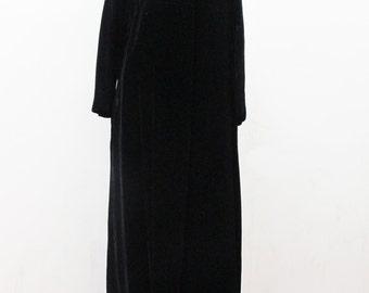 1960s Mod Opera Coat in Black Velvet Union Made