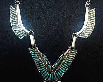 Zuni Sterling Silver Turquoise Needlepoint Necklace