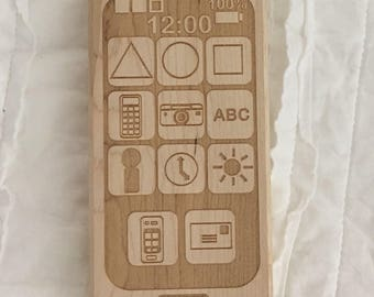 Phone wooden teether baby nerdy geeky toy waldorf