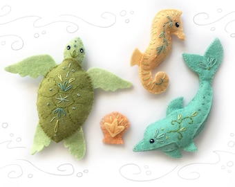 Sea Creatures Set 2 Felt Animals Sewing Pattern, PDF Download plush pattern for Dolphin, Sea Turtle, Seahorse