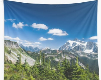 Wall tapestry North Cascades Mountains Nature photo wall hanging Mountains wall decor Wilderness tapestry Dorm wall hanging Large tapestry