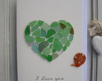 I Love You Card-Gift for Mom-Genuine sea glass Card-Mosaic-Handmade-Greeting card-Sea Glass Heart