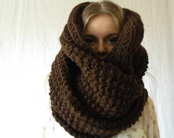 Infinity Scarf Chunky Oversized Long Knit Wrap in Espresso brown Womens Accessory