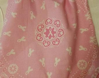 Drawstring backpacks, Cancer awareness, pink ribbon