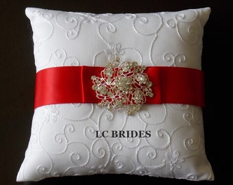Wedding Ring Bearer Pillow, Custom, Red, White, Ivory