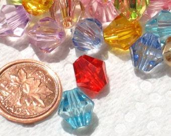 25 Acrylic Bicone Beads Bright Mix 10mm