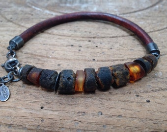 Raw Natural Baltic Amber, Adjustable wrap, Men's Bracelet, Antique Eco Leather Soft Brown, Genuine Amber, Sterling Silver, Rustic