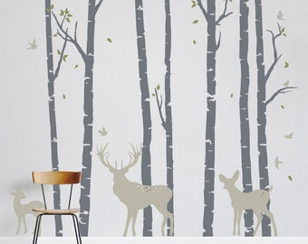 Birch Trees Forest with Deer - Vinyl Wall Decal, Birch Forest Deer Wall Decal, Woodlands Nursery Theme, Nursery Tree Sticker, 12JL-BF