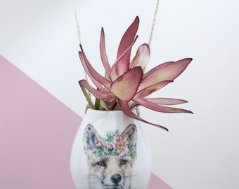 Hanging Plant Pots, Succulent Planter, Woodland Fox Illustration, Ceramic Hanging Planter, Succulent Pot, wildflowers, Mother's Day Gift