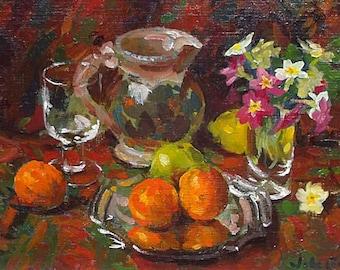John Whitlock Codner Original Oil Painting - Still Life - Fruit And Flowers