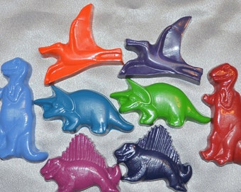 Sensory Dinosaur Crayons, Dinosaur Party Favors, Recycled Crayons Jumbo Dinosaur Shaped Total of 8.  Boy or Girl Kids Unique Party Favors.