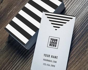 Modern Geometric Black and White Business Card