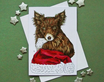 Foxy Chihuahua dog Christmas Card with Santa hat and Glitter