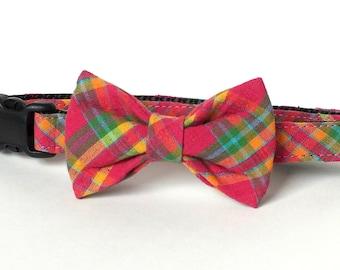 Dark Pink Plaid Dog Collar Bow Tie set, pet photography