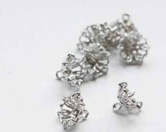 4pcs White Gold Base Metal Bead Cap - Flower 10x8mm (6570Z-H-282C)