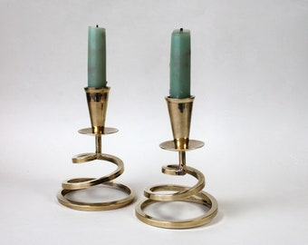 Brass Spiral Candlestick Holders, Industrial Brass Decor, Modernist Brass Coil Candleholders, Matching Set, Vintage Brass Candleholders
