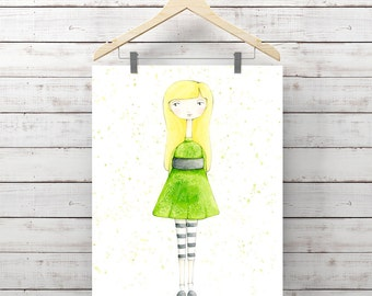 She loves Green Watercolor Print - Watercolor Whimsy Girl Print - Original Art by Angela Weber - Giclee Art Print