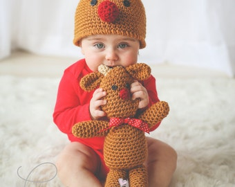 REINDEER Crochet PATTERN HAT in 5 sizes & Reindeer Doll Christmas