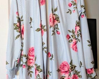 Floral striped cardigan/adult / Matching/Modern/blue/floral/ Stripes