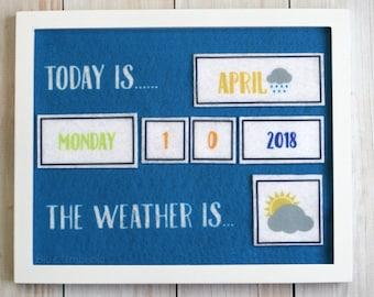Felt Calendar & Weather Chart - Felt Board Pieces