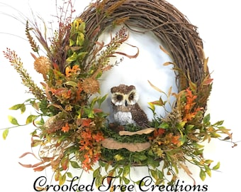 Owl Wreath, Fall Wreath, Owl Floral, Rustic Wreath, Woodland Wreath, Autumn Wreath, Summer Wreath, Owl Decor, Garden Wreath, Natural Wreath