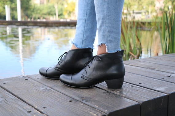 Boots Ankle Shoes Booties Tie Booties Leather Handmade With Boots Shipping Shoes Boots Winter Heel Handmade Free Winter Black w7R1qw