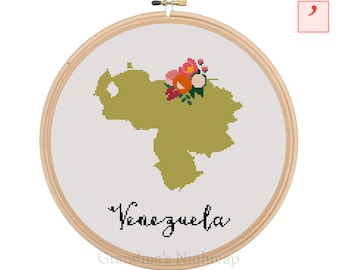 Venezuela Cross Stitch Pattern Modern Cross Stitch Pattern Country Cross Stitch Pattern Venezuela Art Venezuela Country Art