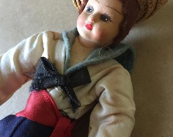 1940s Sailor Boy Doll // Vintage Little Sailor Cloth Doll // Unique Doll