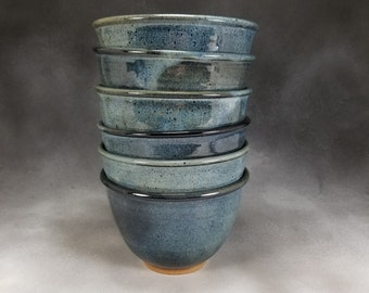 Bowl Serving Bowl Pottery Cereal Bowl in Blue Hand Thrown Stoneware Pottery Serving Bowl 3 Cup Bowl Soup Bowl
