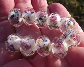 Lampwork beads faceted 10 X 8 MM multicolor pink flower.