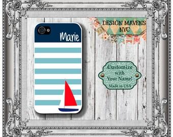 Preppy Sailboat Stripe Monogram iPhone Case, Personalized iPhone Case, iPhone 4, iPhone 4s, iPhone 5, iPhone 5s, iPhone 5c, iPhone 6, 6 Plus