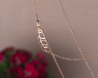 Rose Gold Feather Necklace Sterling Silver gold plated Leaf Necklace Silver Feather Gold Feather Necklace dainty pendant Birthday gift