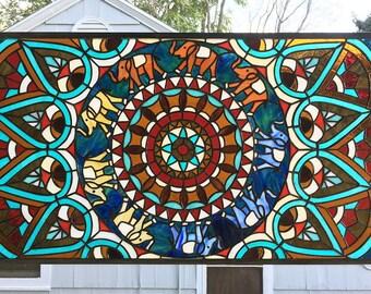 "Stained Glass Window Panel--Mandala Geometric-18"" x 34 7/16"""