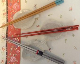 Wooden Chopsticks, 3 Pairs, Fish Shaped Chopstick Rests, Fish