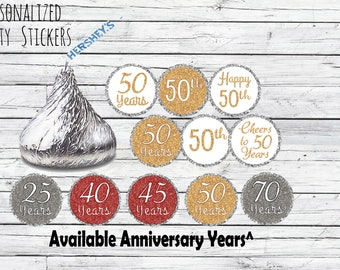 Gold 50th Anniversary Party Favors, Stickers Hershey Kisses, 50 Year Golden  Anniversary Candy Favors