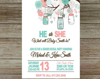 Boho Chic Gender Reveal Party Invitation with Mason Jar, baby shower invite, he or she, Blue or pink-Printed or Digital File