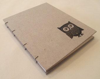 Owl Small Journal Notebook: Hardbound Handmade Coptic Book