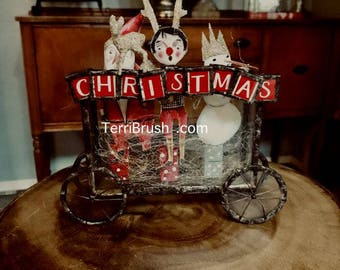 Tin & Tinsel Online class, soldering, 4 ornaments  tutorial,Terri Brush , Holiday class, snowman, santa, glass boxcar